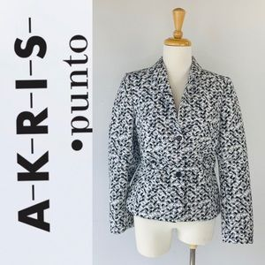 Akris Punto Women's Black White and Gray Blazer 10